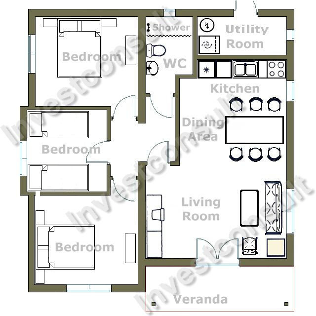 bedroom house three bedrooms one bathroom living room with dining
