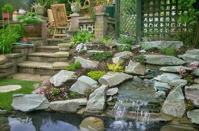 lanscaping garden pond and rock gargden